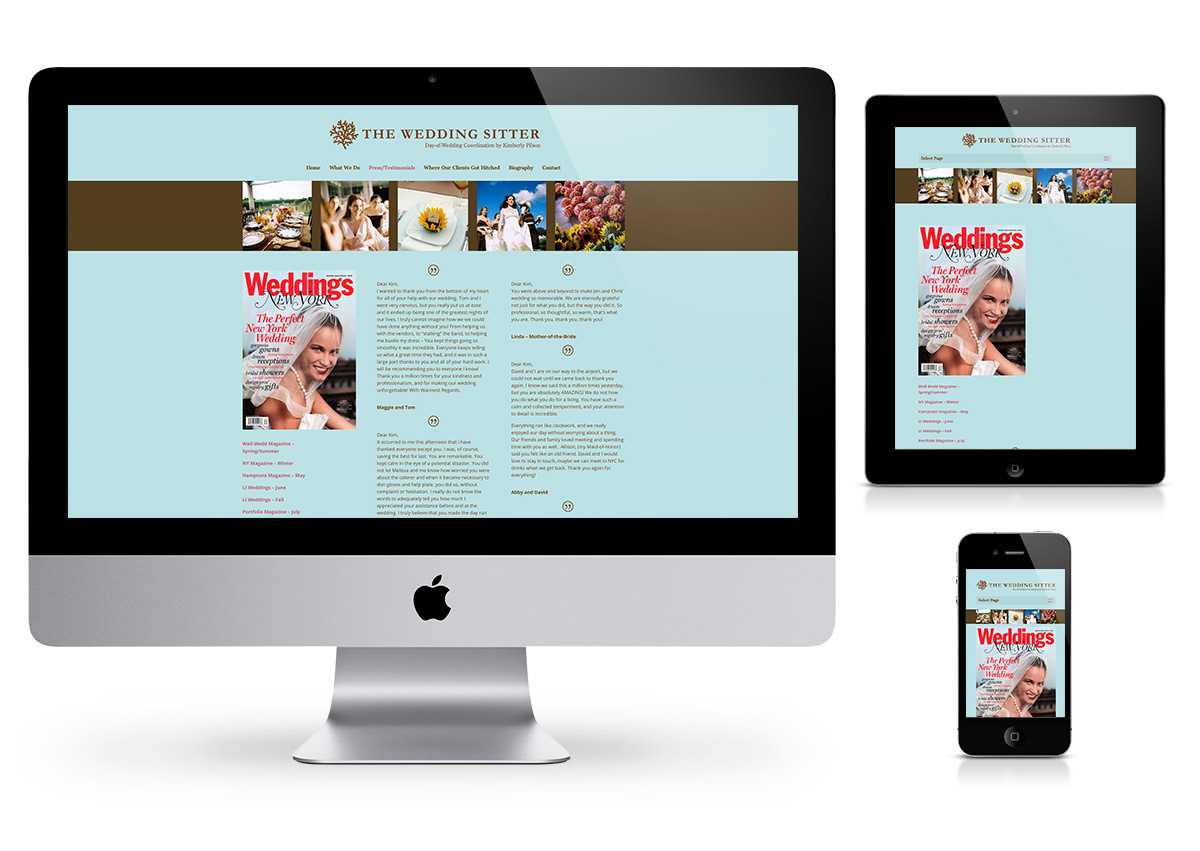 The Wedding Sitter - Webdesign by Fab Web Philly