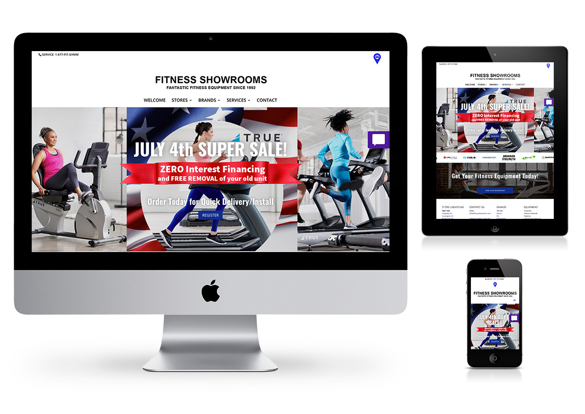 Philly Website Design Company - Fitness Showrooms Website Home Page
