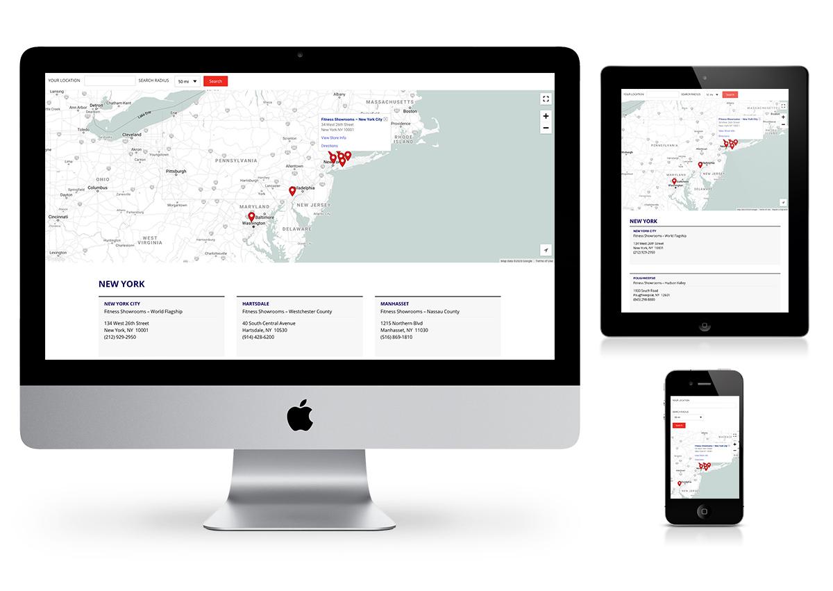 Philadelphia Website Design Company - Fitness Showrooms Website Locations Page